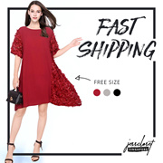JESSCLOSET - Loose Fit Work / Formal Half Sleeve Dress With Interesting Design #9626 - New Arrival