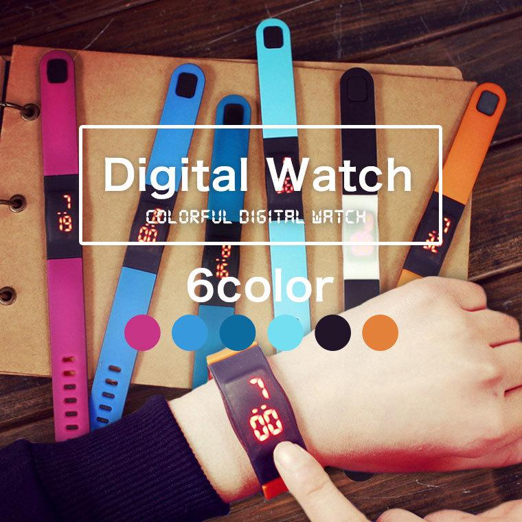 Qoo10【国内発送 発送無料】デジタル ウォッチ Digital Watch 腕時計LEDバングル ブレスレット 電子時計  ユニセックスアーバン ファッション 学生用 男女兼用#8A09