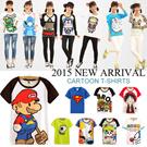 [BUY 2 ONE SHIPPING FEE]2015 New Listing! Fashion Couple T-shirts/Cartoon Pattern T-shirts/SpongeBob/ Doraemon /Superman/ Short-sleeve T-shirts/For Women~Men