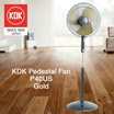 KDK Pedestal Fan P40US / 40cm / 3-speed and ON/OFF push button switch / Height adjustable / Metal Blade / One Year Warranty