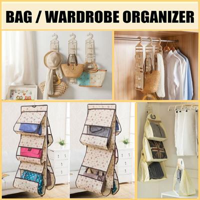 Qoo10 closet bag hanger wardrobe organizer closet - Handbag hanger for closet ...