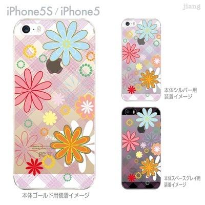 【iPhone5S】【iPhone5】【Vuodenaika】【iPhone5ケース】【iPhone ケース】【クリア カバー】【スマホケース】【クリアケース】【ハードケース】【着せ替え】【フラワー】【チェックと花】 21-ip5s-ne0060の画像