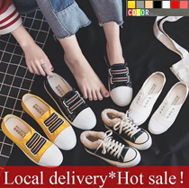 Local delivery*Hot sale!FLAT SHIPPING★Korea Style Canvas Shoes★Flat Shoes★Velvet Sneakers