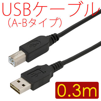 【送料無料】USBケーブル USBコード A-Bタイプ(ABタイプ Aタイプ Bタイプ) 両端オス プリンターや外付けハードディスクドライブ(HDD)などの周辺機器を接続できる[約0.3m]の画像