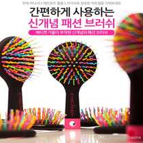 [One Space]  Korea Rainbow volume brush / take care of tangled hair neatly /no more breaking dried hair /gently prrotect scalp /fashion comb / new hair style accessories / volume wave hair