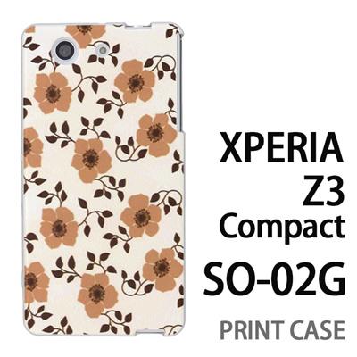 XPERIA Z3 Compact SO-02G 用『0913 花ベージュ』特殊印刷ケース【 xperia z3 compact so-02g so02g SO02G xperiaz3 エクスペリア エクスペリアz3 コンパクト docomo ケース プリント カバー スマホケース スマホカバー】の画像
