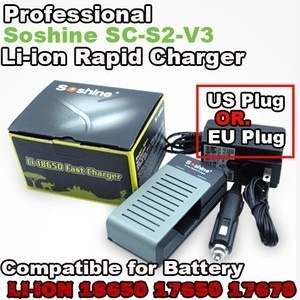 【クリックで詳細表示】[SOSHINE]Free Shipping NEW Soshine SC-S2 v3 III Charger 18650 17670 3.7v Li-ion Lithium Battery 12v Car US plug