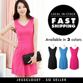 Super slimming work / office dress made of stretchy and comfy material comes in 3 colours and 6 sizes/ Item#3011
