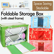Storage Box foldable with Steel [New stock arrived] frame Home Car Stackable SG stock Floral Cherry