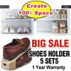[SUPERSALE] 5 Sets of Shoes Holder by HomeJoy. Comes with 1 Year Warranty. Store Wide Sales.