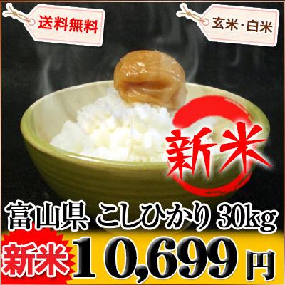 富山県 新米 1等米 こしひかり 白米9kg×3袋か玄米30kg 平成27年産の画像