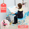 [Super Sales] Children Study Table with Build in Easel and Magnetic Clip to secure drawing Paper Tilt-able Table Top for writing reading and drawing.