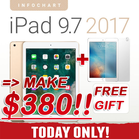 ?MAKE $380+FREE GIFT!? New Apple iPad 9.7 Wi-Fi   5th Generation 2017 Model   Retina Display / 128G Deals for only S$1300 instead of S$0