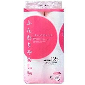 送料無料ふんわり トイレットペーパー 12ロール ダブル27.5m×8パック1パックあたり374円(税抜)00385の画像
