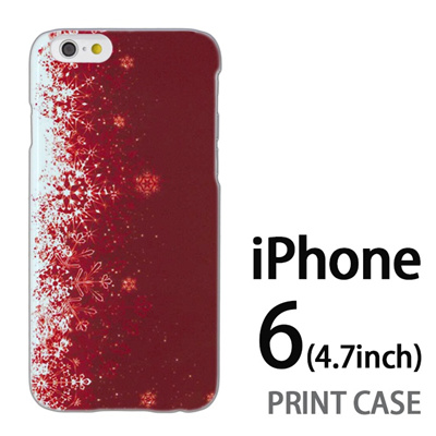iPhone6 (4.7インチ) 用『1204 雪結晶 赤』特殊印刷ケース【 iphone6 iphone アイフォン アイフォン6 au docomo softbank Apple ケース プリント カバー スマホケース スマホカバー 】の画像