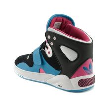 Womens adidas Roundhouse Athletic Shoe Black/Blue/Pink basketball sneakers (6