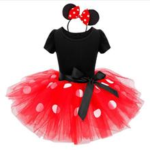 最新子供の贈り物ミニーマウスパーティードレスファンシーコスチュームコスプレガールズミニードレス+ヘッドバンド9M  -  6Y