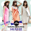 ♬ ONLY AT $9.9!♬ up to XXL! Korean Linen Dress! 4 Colors! Korean Design  ★THE GREAT SINGAPORE SALE★ FAST SHIPPING!