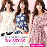 [Only One Day Limited time sale] 2015 NEW ARRIVAL~★FREE SHIPPING★Made in KOREA~! S/S 2015 Best Selling Dress in Korea♥lovely Mini Dress/ Dress/loose fit Dress//Mini Dress/Linen Dress/office dress