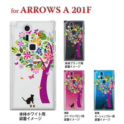 【ARROWS A 201F】【201F】【Soft Bank】【カバー】【スマホケース】【クリアケース】【クリアーアーツ】【花とネコ】 22-201f-ca0070の画像