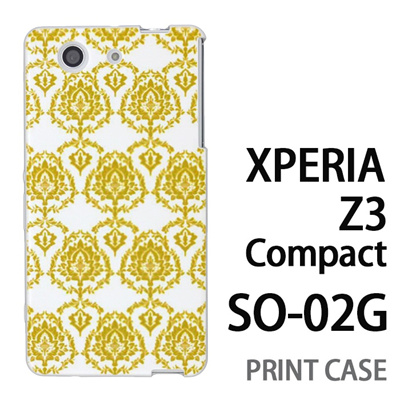 XPERIA Z3 Compact SO-02G 用『1001 葉紋様 黄』特殊印刷ケース【 xperia z3 compact so-02g so02g SO02G xperiaz3 エクスペリア エクスペリアz3 コンパクト docomo ケース プリント カバー スマホケース スマホカバー】の画像