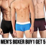 PROMO BUY 1 GET 5 NEW Underwear Boxer pria stretch elastis fit S to XXL GOOD QUALITY
