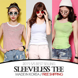 [grey u][FREE SHIPPING]Sleeveless Tee♥Made in KOREA~!]★S/S 2015 Best Selling Premium T-shirts in Korea♥free shipping/Casual Loose fit T-shirts/Basic Design T-shirts/Casual T-shirts/Sleeveless Tee