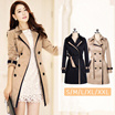 Coat For Women 2017 Fashion Turn-down Collar Double Breasted Contrast Color Long Coats Plus Size