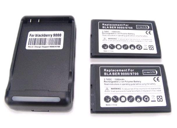【クリックで詳細表示】ブラックベリーボールド9000 9700 9780のための新しい2X 1800MAHバッテリー+壁の充電器