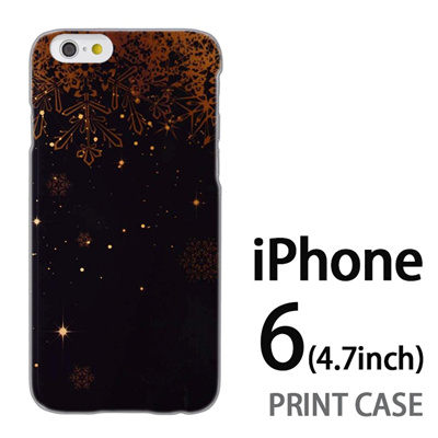 iPhone6 (4.7インチ) 用『1205 雪結晶の模様 黒』特殊印刷ケース【 iphone6 iphone アイフォン アイフォン6 au docomo softbank Apple ケース プリント カバー スマホケース スマホカバー 】の画像