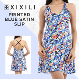 XIXILI Printed Loungewear Satin Slip Blue