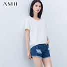 Amii [minimalism] 2016 spring and summer hedging lace hem spell multicolor big yards T-shirt 11,620,751