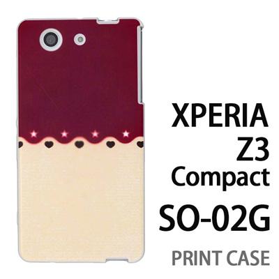 XPERIA Z3 Compact SO-02G 用『1002 星とハート 茶×ベージュ』特殊印刷ケース【 xperia z3 compact so-02g so02g SO02G xperiaz3 エクスペリア エクスペリアz3 コンパクト docomo ケース プリント カバー スマホケース スマホカバー】の画像