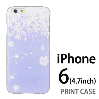 iPhone6 (4.7インチ) 用『1205 雪結晶の模様 水』特殊印刷ケース【 iphone6 iphone アイフォン アイフォン6 au docomo softbank Apple ケース プリント カバー スマホケース スマホカバー 】の画像