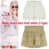 2015 Cool ~ Lace short pants from korea: Wide waist banding: Midi-length: Stylish Lace Cut: Lining attachment