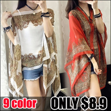 Fast Delivery♥Women  folk style retro fashion all-match♥ chiffon shirt printing sunscreen shirt ♥Scarf Shawl♥Office Outer Wear Cardigan For Ladies Coat ♥ Anti-UV Shawl Air conditioning shawl A04