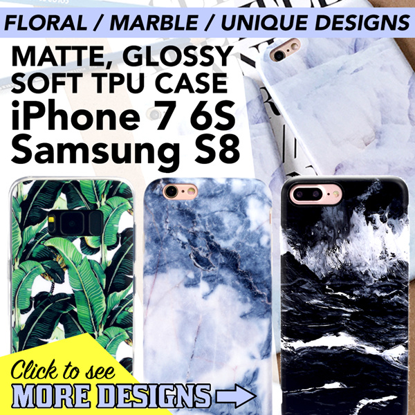 iPhone X 8 Plus 7 6S / Samsung S8 MARBLE / FLORA / DESIGN IMD TPU Case Tempered Glass Deals for only S$29.9 instead of S$0