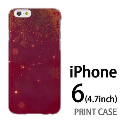 iPhone6 (4.7インチ) 用『1205 雪結晶の模様 赤』特殊印刷ケース【 iphone6 iphone アイフォン アイフォン6 au docomo softbank Apple ケース プリント カバー スマホケース スマホカバー 】の画像