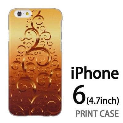 iPhone6 (4.7インチ) 用『1206 蔓ツリー ゴールド』特殊印刷ケース【 iphone6 iphone アイフォン アイフォン6 au docomo softbank Apple ケース プリント カバー スマホケース スマホカバー 】の画像