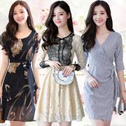 Korean style Slim lace Chiffon dress/Plus size Dresses/Beach skirt/Bohemia/floral dress/work