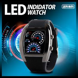 【送料無料】■LEDインジケーターウォッチ ブラック■車のスピードメーターのようなクールな時計!(カラー:ブラック)