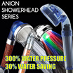 Purifying Filter Anion SPA Showerhead LED shower head Water Saving Conservation 300% Water Pressure