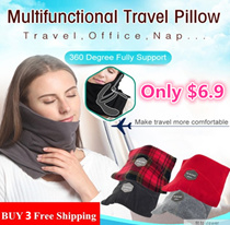 Travel Pillow★ Best for Airplane /Easy to carry /360° Support Protect /Super Soft