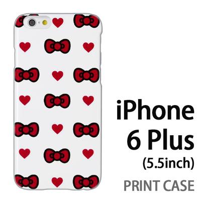 iPhone6 Plus (5.5インチ) 用『0626 赤リボンドット』特殊印刷ケース【 iphone6 plus iphone アイフォン アイフォン6 プラス au docomo softbank Apple ケース プリント カバー スマホケース スマホカバー 】の画像