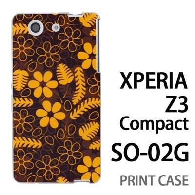 XPERIA Z3 Compact SO-02G 用『1101 羽と花と葉 黒』特殊印刷ケース【 xperia z3 compact so-02g so02g SO02G xperiaz3 エクスペリア エクスペリアz3 コンパクト docomo ケース プリント カバー スマホケース スマホカバー】の画像
