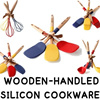 WOODEN-HANDLED SILICONE COOKWARE/Silicon/spatula/ladle/Balloon whisk/brush/Made in Korea/utensils storage