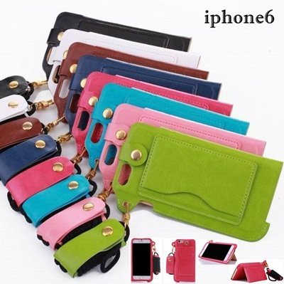 iphone6用保護ケース iphone6ケース首掛けストラップ付き スマートフォンカバー・カードセットの画像