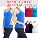 3RE-STOK+Add NEW COLOR!!BASIC COLOR RIB LACE TANK TOP [3401]**high quality**trendy**comfortable**inner wear**full color**