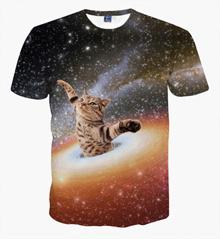 配送無料 メンズファッション Tシャツ メンズ 3D ストリート 原宿系 デザイン 綿 コットン サマー ヒップホップ おもしろ おしゃれ ファッション ロック 稲妻 剣 猫柄 細身 快適 モード 爽やか 軽快