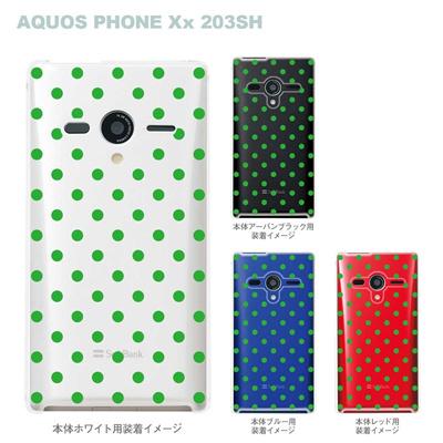 【AQUOS PHONEケース】【203SH】【Soft Bank】【カバー】【スマホケース】【クリアケース】【チェック・ボーダー・ドット】【グリーンドット】 22-203sh-ca0005の画像